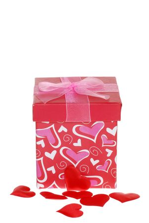 Valentines Gift Box With Red Hearts Stock Photo - 6201863