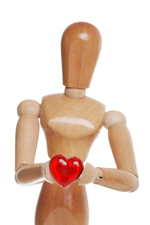 Wood Figure Holding Plastic Red Heart photo