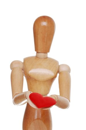 Wood Figure Holding Red Heart Focus Hands photo