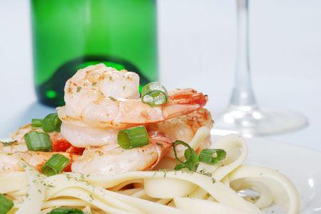 closeup shrimp with spring onions photo