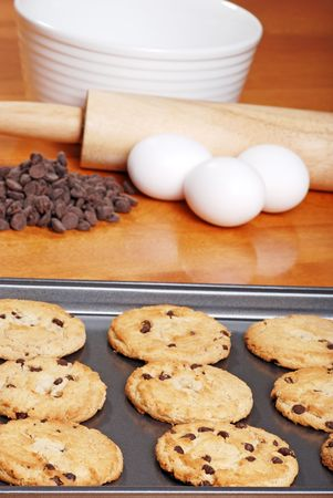 homemade chocolate cookies with ingredients photo