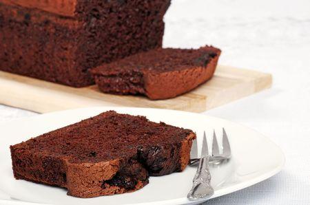 closeup belgium chocolate cake loaf photo
