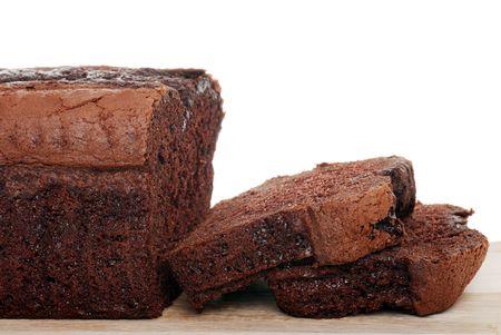 sliced belgium chocolate cake shallow DOF