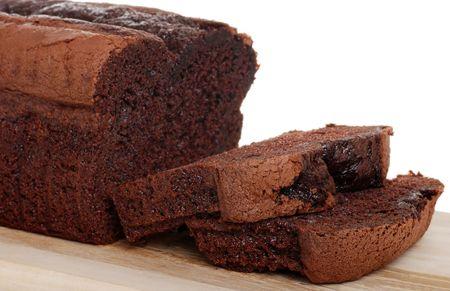 belgium chocolate cake loaf focus on slice Archivio Fotografico