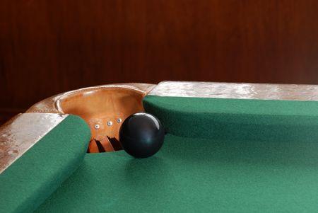 balle de snooker noir par le coin poche