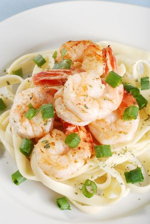 Shrimp And Noodles On A Plate photo