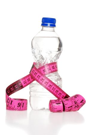 fitas: Pink Tape Measure And Water Bottle