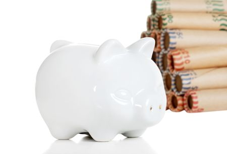 piggy bank with coin rolls photo