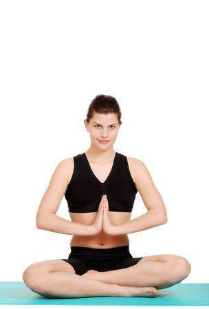 happy young woman doing yoga Stock Photo - 6681135