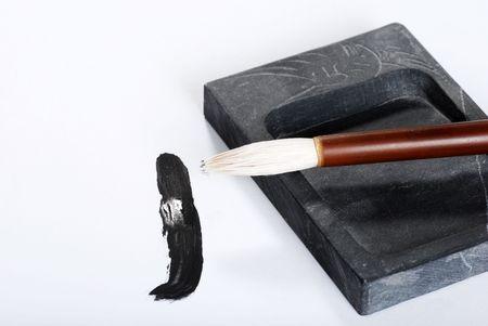 inkstone: asian calligraphy brush on ink stone