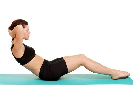 young woman doing sit ups