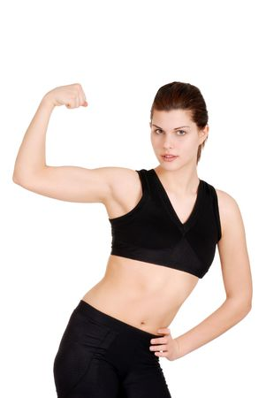 young woman showing off muscles photo