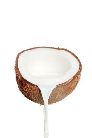 Verse kokos noot en melk Stockfoto - 6960001