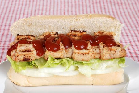barbecue pork riblet with sauce on bun Stock Photo
