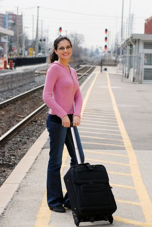 woman at the train station photo