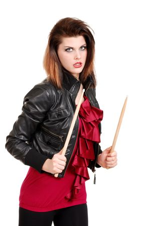 young woman with drum sticks Stock Photo - 7008755