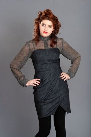 young red head wearing jean dress photo