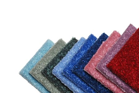 wool rugs: row of colorful carpet samples Stock Photo