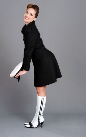 brunette women with sailor hat cute pose photo