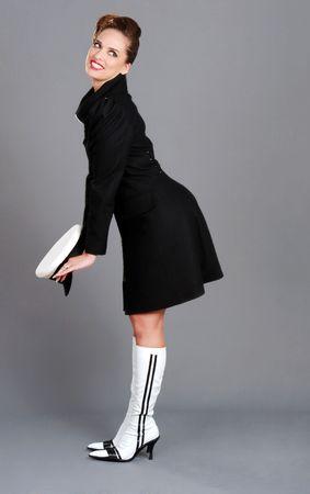 Femme Brunette avec marin hat cute pose Banque d'images - 7146840