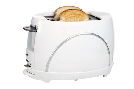 domestic kitchen: toaster with toast Stock Photo