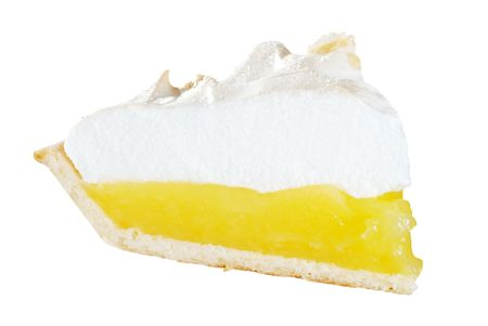 isolated lemon meringue pie slice