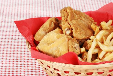 suppertime: closeup fried chicken and french fries Stock Photo