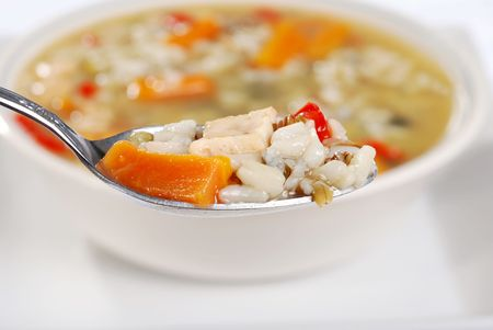 macro spoonful chicken and wild rice soup Stock Photo