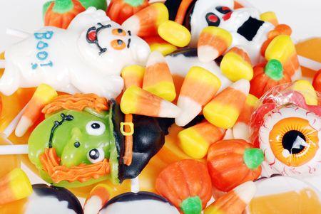 closeup assorted halloween candy photo
