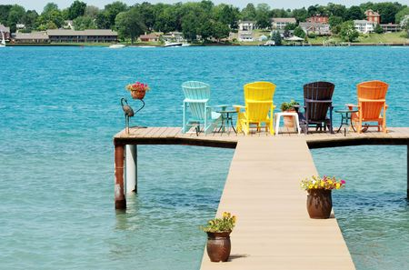 quite dock with colorful chairs and decorations photo