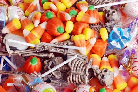 assorted halloween candy and toys Stock Photo