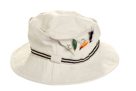 fishing kahki hat with dry flies