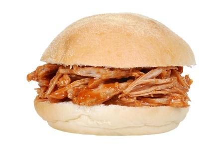 geïsoleerde getrokken varkens sandwich
