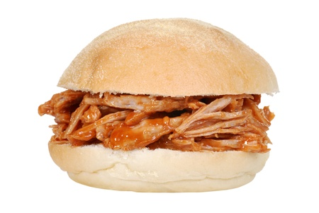 gravy: isolated pulled pork sandwich