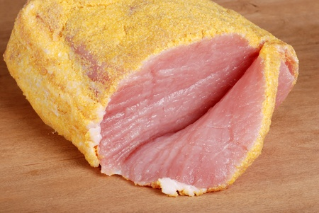 uncooked bacon: sliced canadian peameal bacon Stock Photo