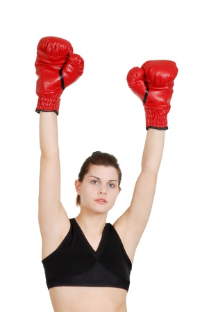 Young woman successful boxer photo