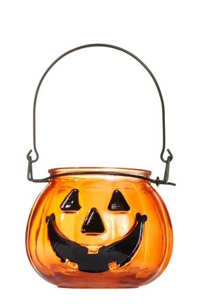 candle holder: glass halloween pumpkin candle holder