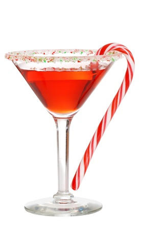 martini: Holiday martini with a candy cane
