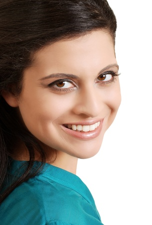 top: portrait smiling hispanic woman with blue top
