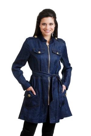 sexy latina: Hispanic woman wearing a jean jacket