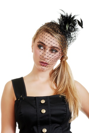 teenager wearing a black veil and dress photo