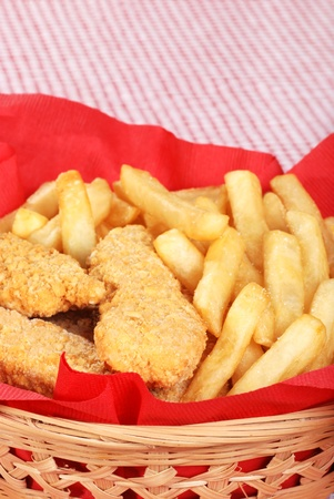 suppertime: closeup chicken fingers and french fries