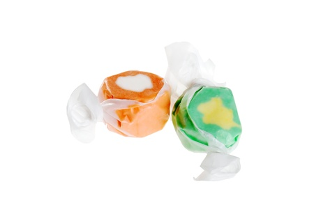 taffy: two pieces of salt water taffy Stock Photo