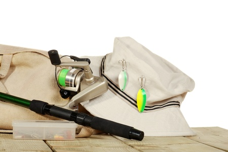 isolated fishing equipment on a dock photo