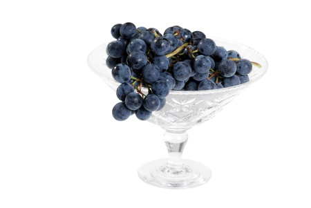 concord grape: concord grapes in crystal bowl Stock Photo