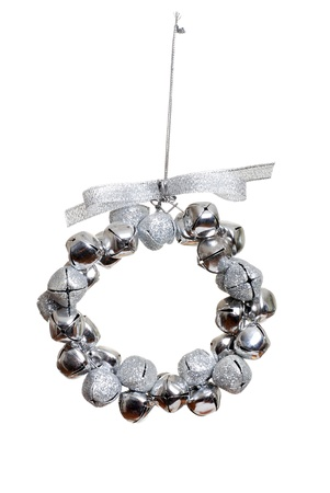 shimmery: silver bell wreath ornament Stock Photo