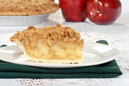 apple crumble: Apple crumble with pie in the background