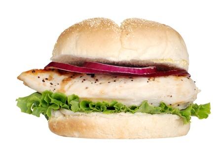 sandwich de pollo: sandwich de pollo a la parrilla aislados Foto de archivo