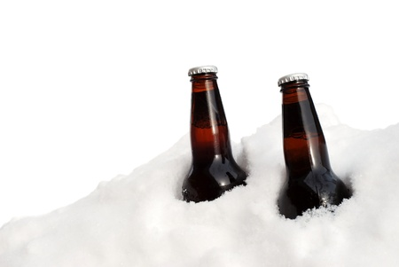 isolated two beers in the snow Stock Photo - 9820369
