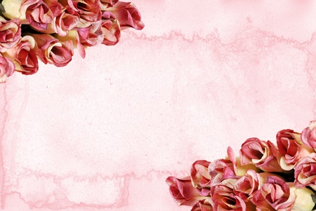 backdrop: Roses with pink watercolor paper